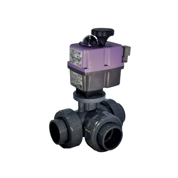 3 WAY T PORT BALL VALVE PTFE - SOLVENT - EPDM O'RINGS with ELECTRICAL ACTUATOR