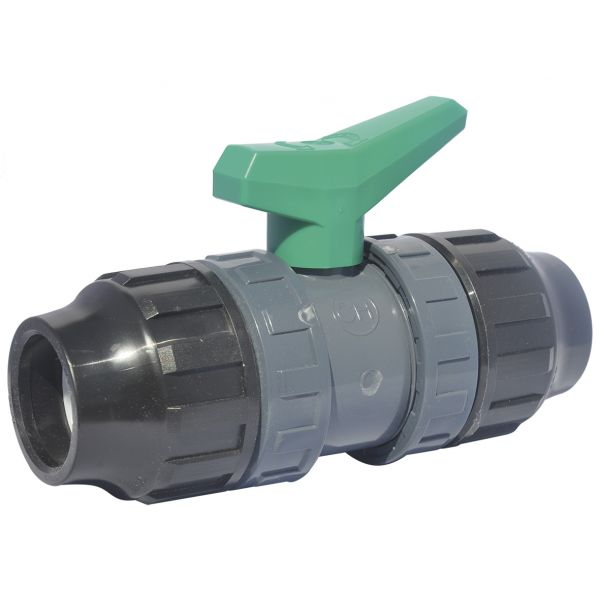 2 WAY BALL VALVE DOUBLE UNIÓN THREAD GREEN HANDLE WITH P.P. PRESSURE FITTINGS FOR PE PIPES, EPDM