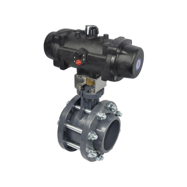 BUTTERFLY VALVE WAFER WITH FLANGES - EPDM O'RINGS - SPRING RETURN PNEUMATIC ACTUATOR