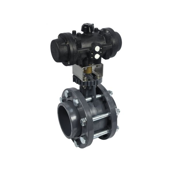 BUTTERFLY VALVE WAFER WITH FLANGES - EPDM O'RINGS - DOUBLE ACTING PNEUMATIC ACTUATOR